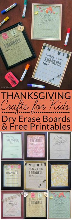 "Thanksgiving Crafts for kids, Gratitude activity for kids: DIY Dry Erase Board with Six Free Printables - Add "" I Am Thankful "" dry erase boards to your list of easy Thanksgiving crafts to emphasize thankfulness."