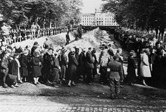 "By order of the Supreme Allied Commander local Germans were rounded up by Allied troops and made to tour Hitler's ""death camps."" The citizens file past a long line of corpses at a camp in Wobbelin, Germany. 1945."