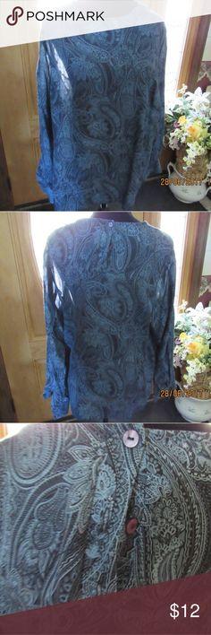 JB178.  Paisley Blue Blouse. Size 22W Beautiful women's blue paisley print long sleeve blouse. Size 22W Valerie Stevens Tops Blouses