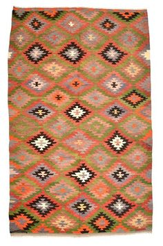 Vintage Afyon Kilim Rug around 40 years old.