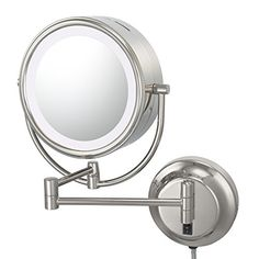 Kimball and Young 92585 Neo Modern Double-Sided LED Mirror, 1X and 5X Magnification, Polished Nickel ** Read more  at the image link.