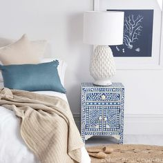 Sapphire & Bone Inlay Bedside Table AUD$720 sale