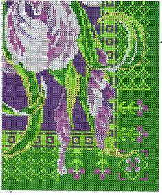 Cross stitch Iris Pillow Cover.