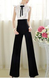 Vintage High Waist Solid Color Wide Leg Pants For Women