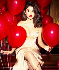 party of the year - Selena Gomez - red balloons - happy new year eve