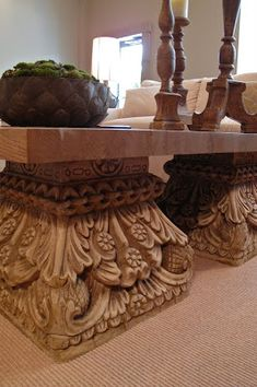 So, when I mentioned my brothers new amazing adventure the other day this is what I was talking about, Vesta Precast Accents & the Vesta . Elegant Home Decor, Elegant Homes, Veranda Interiors, Spanish Style Decor, Column Base, Home Living Room, Entryway Tables, Dining Table, Rustic