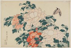Peonies and Butterfly, from an untitled series known as Large Flowers  横大判花鳥 牡丹に蝶 Japanese Edo period about 1833–34 (Tenpô 4–5) Artist Katsushika Hokusai (Japanese, 1760–1849)
