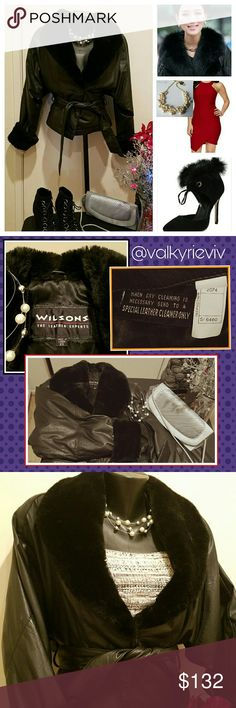 Wilsons Leather Jacket w/Fur Collar & Cuff Wilsons Leather brand ladies BLACK jacket,  short waist w/belt strap & luxurious fur collar & sleeve cuffs.  SIZE XS Xtra Small. Winter's not over! Keep warm while feeling sexy in a jacket that looks great casual in jeans & boots, as well as a fine dress & heels. EUC, Very CLEAN, No rips, tears. Leather is soft & suptle. Fur is smooth. Fully lined. Metal snap buttons secure wrap-style at waist then ties w/belt. Genuine leather w/the trusted quality…