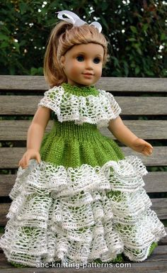 ABC Knitting Patterns - American Girl Doll Southern Belle Dress
