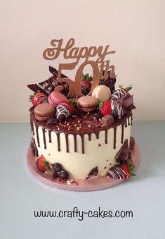 New Birthday Cake Chocolate Strawberry Sweets 29 Ideas Chocolate Birthday Cake Decoration, Birthday Drip Cake, Birthday Cake Decorating, Chocolate Drip Cake Birthday, 50th Birthday Decorations, 50th Birthday Cake For Women, 60th Birthday Cakes, 50th Birthday Cake Images, 21st Bday Cake