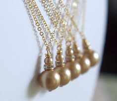 The Original Chloe Pearl Drop Necklace in Matte Gold Pearl