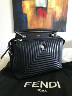 6b81357d7cc5 Authentic Fendi small Dotcom Click tote   bag   purse in black