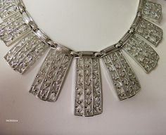 Sarah Coventry Choker  Fan Necklace  Silver Tone by GemstoneCowboy on Etsy