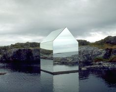 Ekkehard Altenburger.  Mirrorhouse,1996.  Temporary installation on the Isle of Tyree in Scotland. Work was placed in natural lake reflecting the Atlantic Ocean.