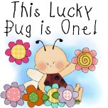 Lucky Bug baby's first birthday T-shirts, bodysuits, magnets, cards, postage, and more with a cute baby ladybug and flower design.