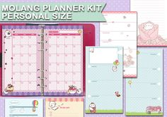 Molang printable planner kit  personal size di FiloDelight su Etsy
