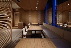 寿し処 まぐろ茶家/和処 神 | BAMBOO MEDIA Retail Space, Cafe Restaurant, Bamboo, Graphic Design, Interior, Table, Room, Furniture, Home Decor
