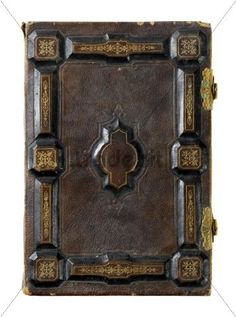 Antique book with hard ornamental leather cover
