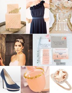 Navy and rose gold wedding inspiration; like seriously, that's my engagement ring in the bottom corner!
