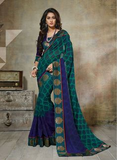 Blue and Green Lace Georgette Classic Designer Saree