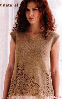 "Photo from album ""Vogue Knitting Spring/Summer on Yandex. Lace Knitting Patterns, Knitting Stitches, Knitting Designs, Free Knitting, Vogue Knitting, Crochet Capas, Knitting Magazine, Summer Knitting, Knit Fashion"