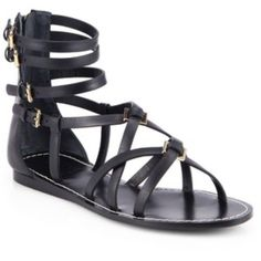 NEW Tory Burch Lucas Gladiator Sandal 10M New, in box, never worn size 10 Tory Burch black genuine leather gladiator sandals with gold accents and back zipper. Retails for $265 Tory Burch Shoes Sandals