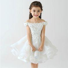 Princess dress for costume appliques ball gown flower girls dresses shoulderless hollow backless kids dresses