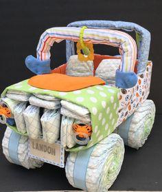 Orange green and blue jeep, jeep diaper cake, unique diaper cake,unique baby gift, diaper centerpiece
