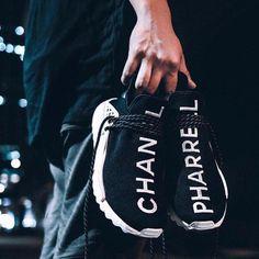 Adidas x Pharell Williams x Chanel Air Max 1, Nike Air Max, Chanel Sneakers, Rare Sneakers, Adidas Sneakers, Adidas Nmd, 350 Boost, Kevin Garnett, Cali Colombia