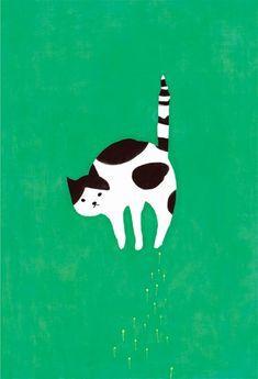 Mozneko is an illustrator from Sapporo-shi, Japan. This fine feline caught my eye. Illustration Mignonne, Art Et Illustration, Cat Drawing, Painting & Drawing, Art Carton, Gatos Cats, Arte Pop, Art Design, Graphic Design