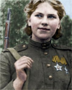 Senior Sergeant Roza Shanina was a sniper in the WWII Russian Army.  She racked up at least 54 kills of German soldiers before dying of wounds at age 20.  She served part of the time in an all-women sniper unit.  Before the war she was a kindergarten teacher.