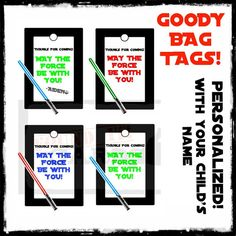 Star Wars Favor Bag / Goody Bag Tags  Printable by FoundItCards, $4.00