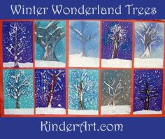 A winter art lesson that shows students how to paint snow covered trees