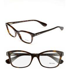 Prada 52mm Optical Glasses (€280) ❤ liked on Polyvore featuring accessories, eyewear, eyeglasses, dark tortoise, prada glasses, cat eye glasses, cat-eye glasses, cateye glasses and tortoise eyeglasses