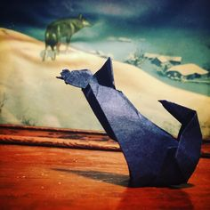 Lonely wolf finds a friend. Design by Ángel Morollón folded by me on tant. Day 43 of #the100dayproject #100daysoffolding #origami #tant  #amandajolley #studiojoy #viriditas #tw #paperfolding #paperflexia #kcartist #kansascity  #lonelywolf