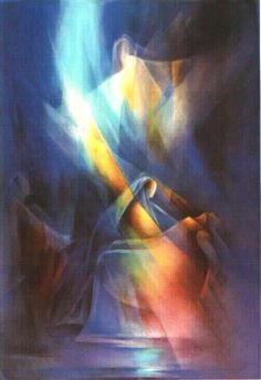 The Holy Spirit works through people in so many ways. This picture was definitely God inspired. Leszek Forczek 'Blue Pieta', 1998 Watercolor - Free Artist Portfolio