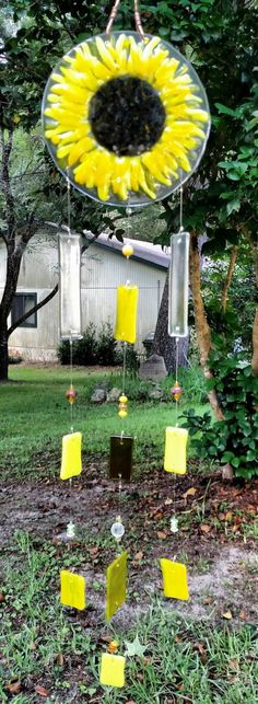 Cheerful Sunflower Fused Glass Wind Chimes by ColleenGail on Etsy