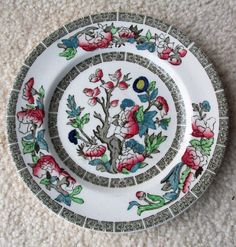 Johnson Brothers INDIAN TREE Plate with Greek Green Key #JohnsonBrothers