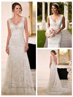 Diamante Adorn Sweetheart Straps Lace Wedding Dresses with V-back