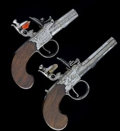 KNUBLEY, LONDON  TWO FLINTLOCK BOXLOCK POCKET PISTOLS,  both circa 1800.