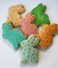 Easter Bunny / Pastel and Gold/ Sugar Cookies with Buttercream Frosting by parchmentcookies on Etsy