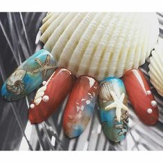 ☺ Korea Nail Art, Aquarium Nails, Nail Ink, Sea Nails, Summer Design, Nail Arts, 3d Design, Beauty Ideas, Nail Ideas