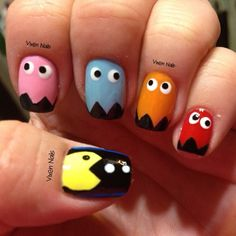 Pac Man nail art Photo by vixen_nails Love Nails, Fun Nails, Pretty Nails, Nail Swag, Pac Man Nails, Nail Art Designs, Nailart, Nail Art Photos, Art Diy
