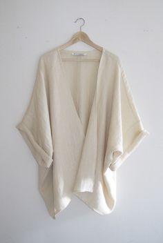 Bohemian Ivory Woven Herringbone Kimono Cardigan Made in the USA