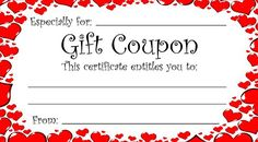 Heart theme gift coupon for Valentine's Day (or any time of year), you can print these free coupons and give a gift from the heart! Give anything from a back rub to a romantic home cooked dinner. Or staple a bunch together to make a gift booklet.
