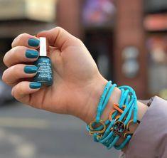 Mavala Nail Polish 335 Pacific Blue & Deep Turquoise Strappz as Bracelet with Luchadores Snappz Brappz