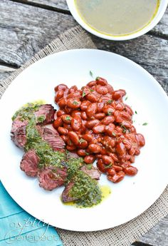 Grilled Hanger Steak with Calanto Mint Chimichurri Sauce