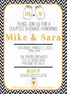 Couples Shower Mason Jar Invitation Bridal Shower by T3DesignsCo, $12.99