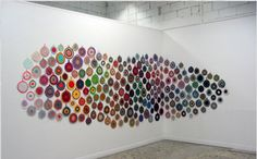 Crocheted potholders exhibit by Anu Tuominen