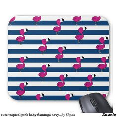 cute tropical pink baby flamingo navy blue stripes mouse pad